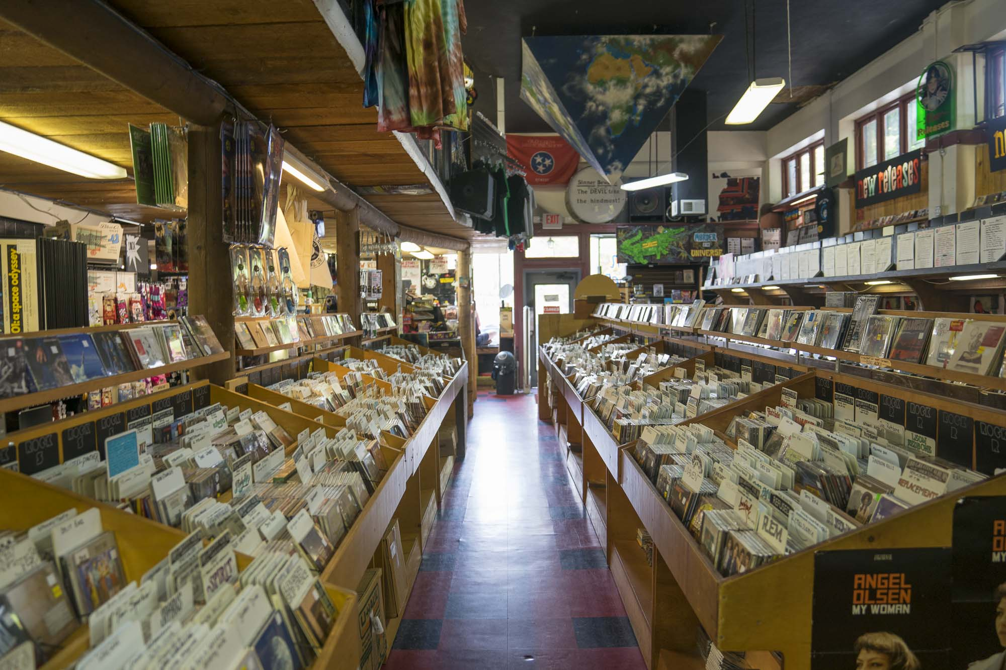 Many records on the shelves of Music Millenium in Portland Oregon for Dirt Road Travels