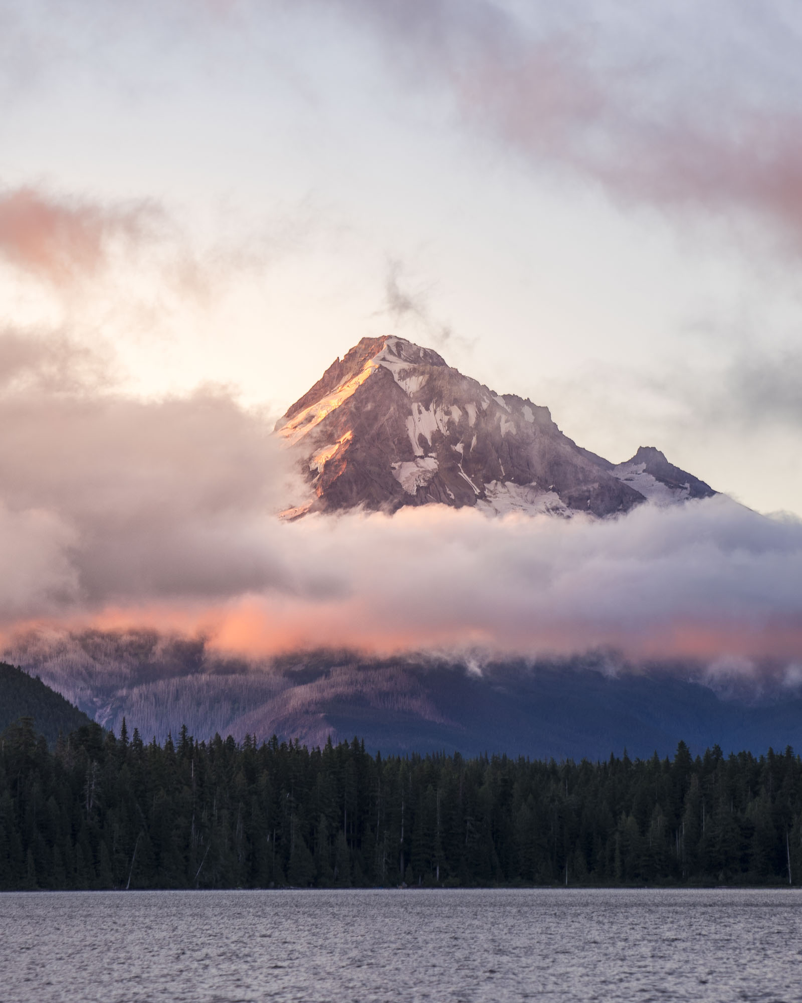 The sunrise over Mount Hood at Lost Lake in Hood River, Oregon.