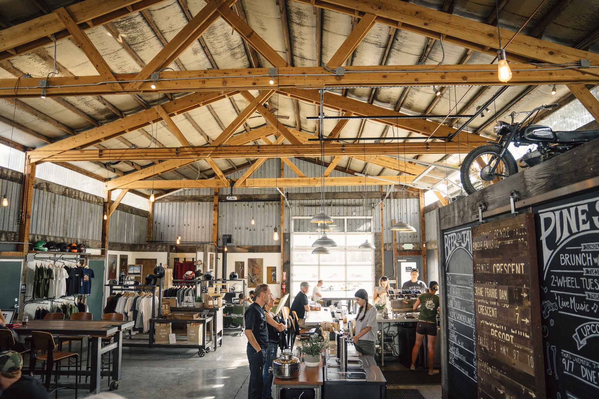The warehouse of Spoken moto in Bend Oregon for Dirt Road Travels