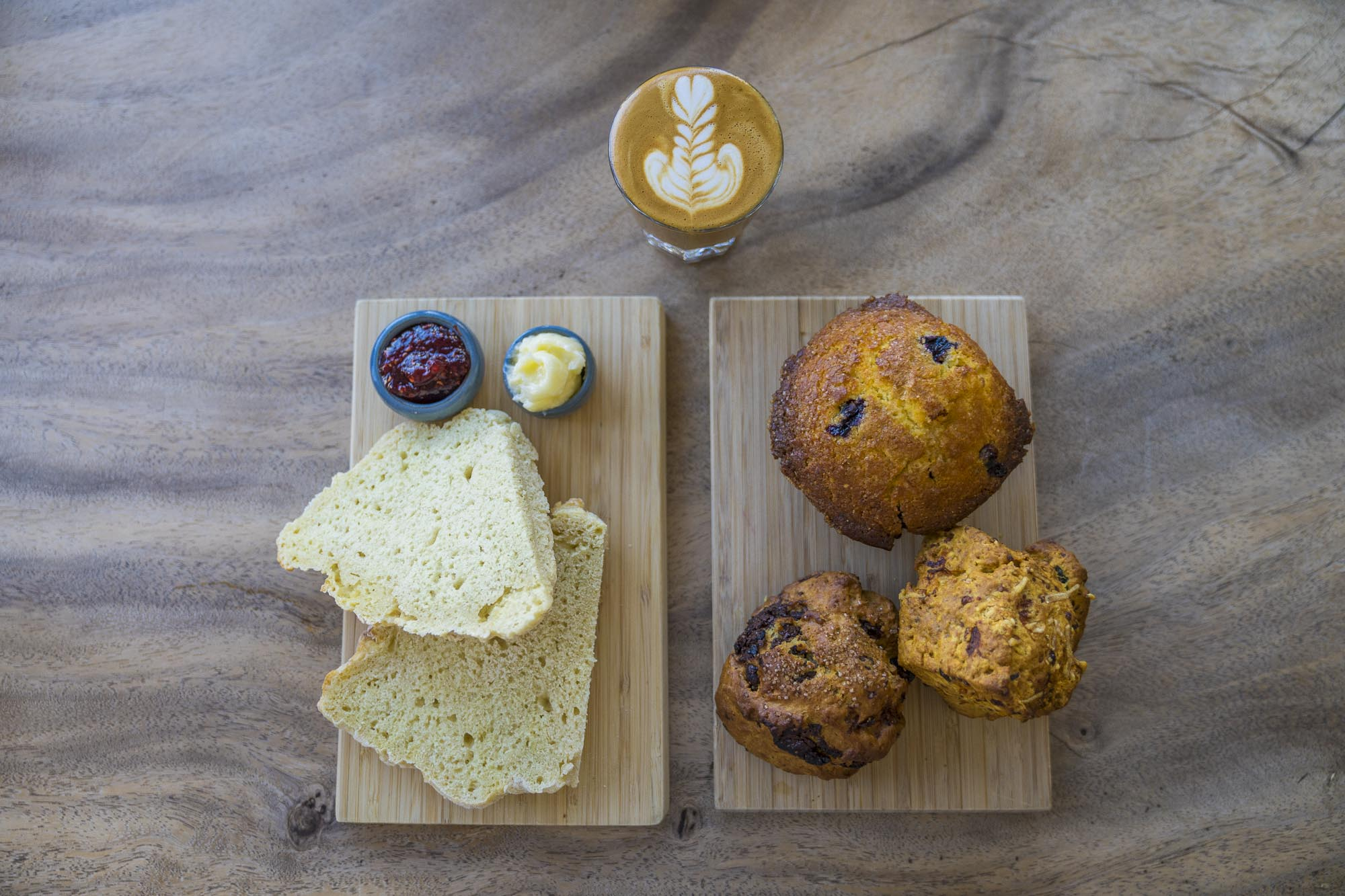 soda bread, muffins and coffee from Anytown Coffee Roasters