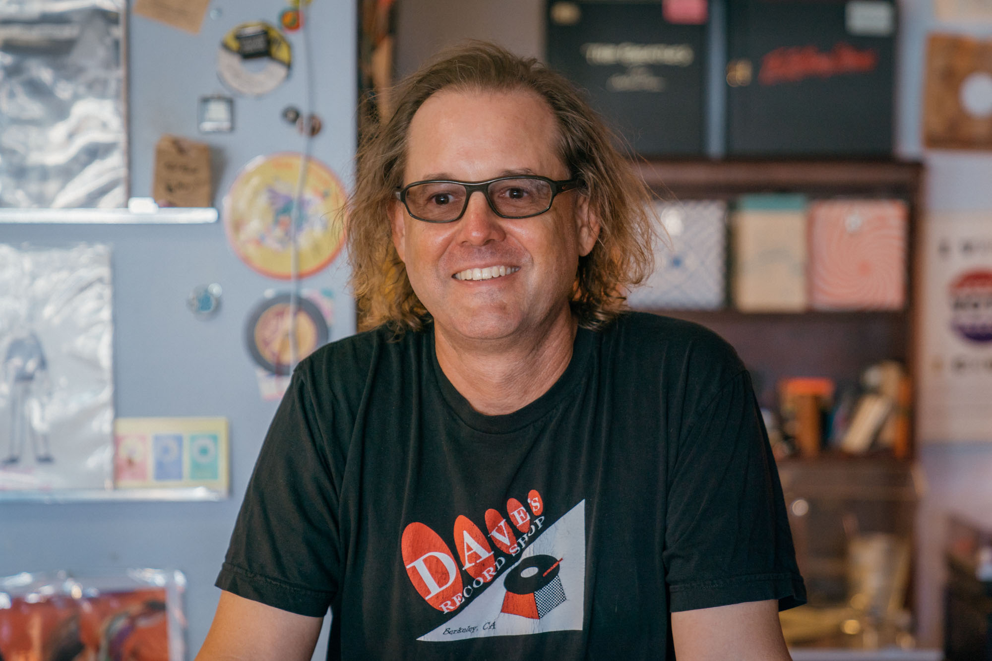 Dave Kloski owner of Dave's Record Shop in Berkeley California for Dirt Road Travels Best Records Stores on the West Coast