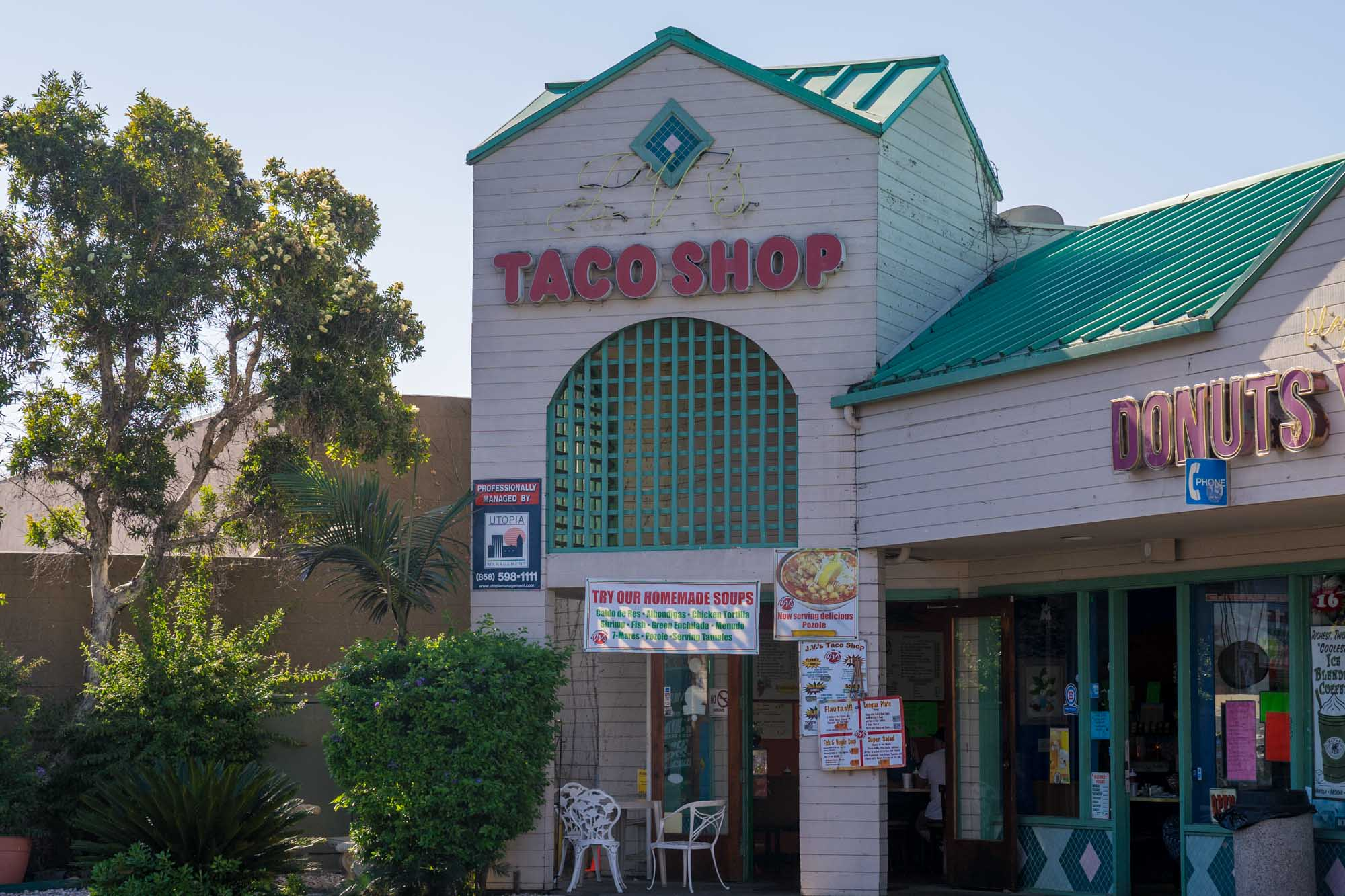 the exterior of the taco shop at JVs Mexican food in San Diego for Dirt Road Travels