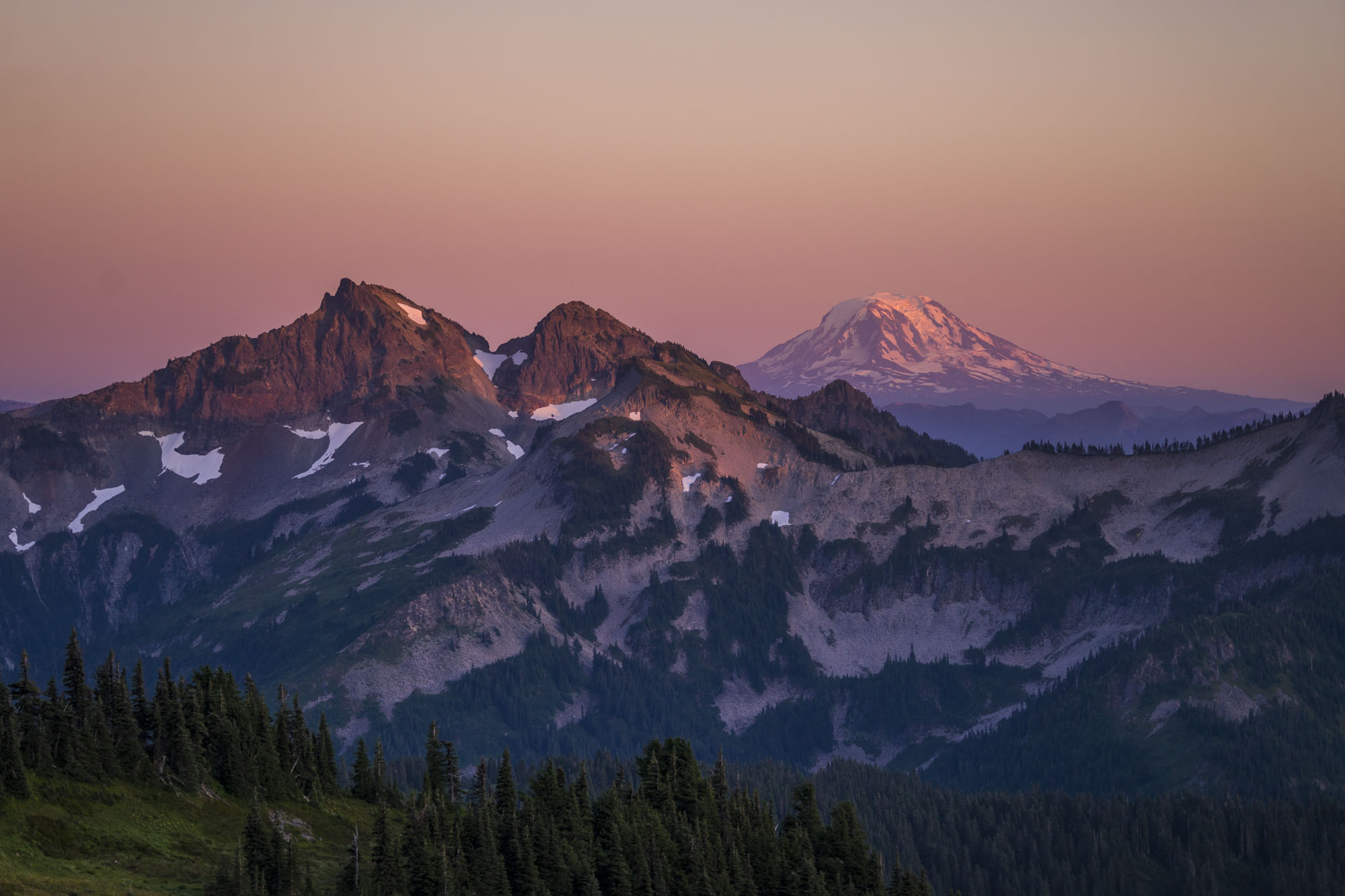 Mount Adams from paradise ridge in washington state for dirt road travels