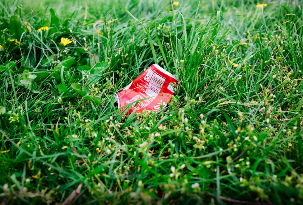 Coca-cola amassada na grama