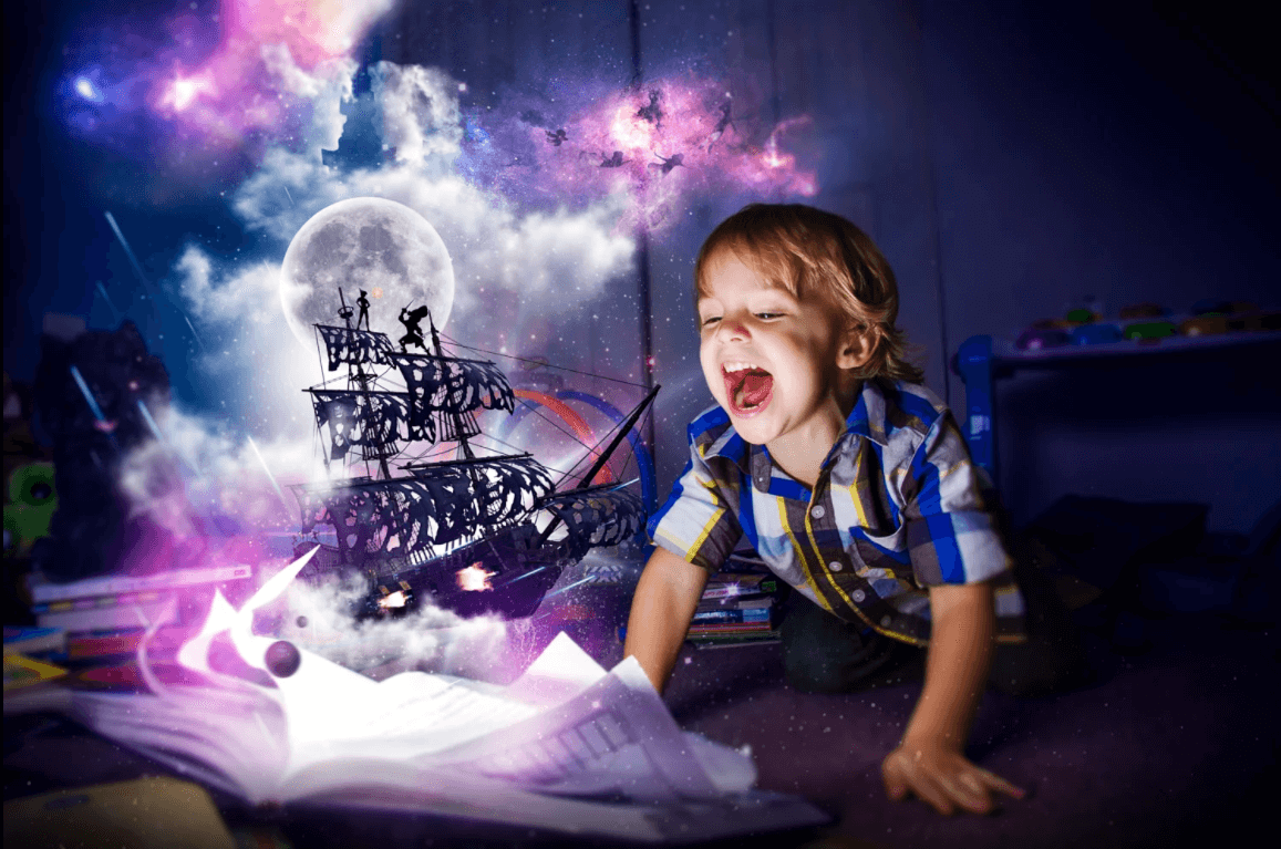 Criança imaginando uma história