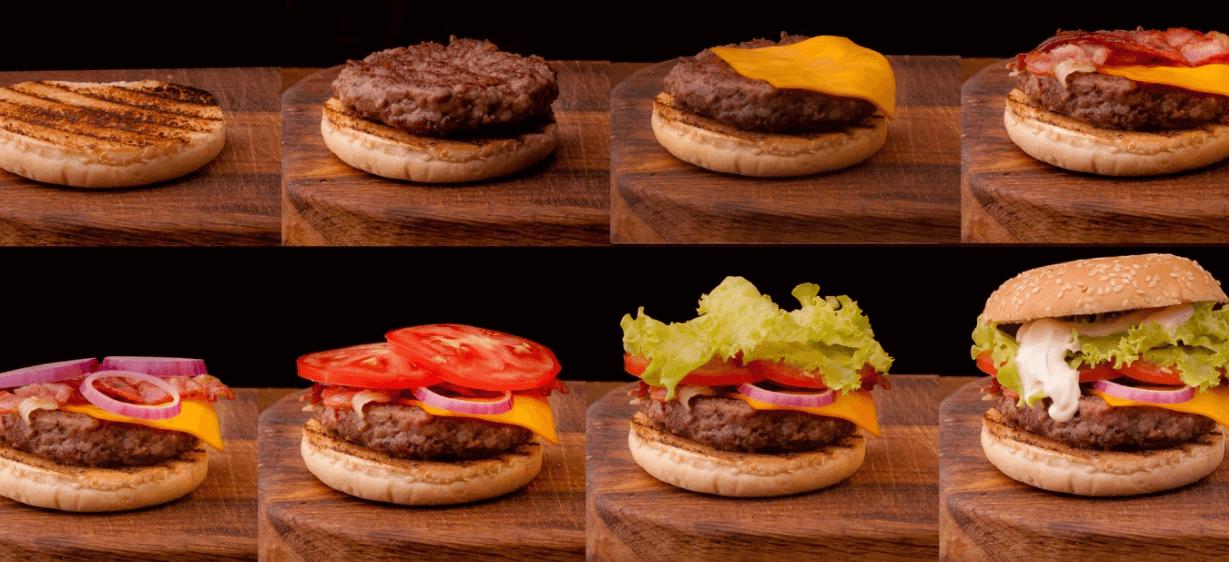 Etapas de hamburguer sendo preparado
