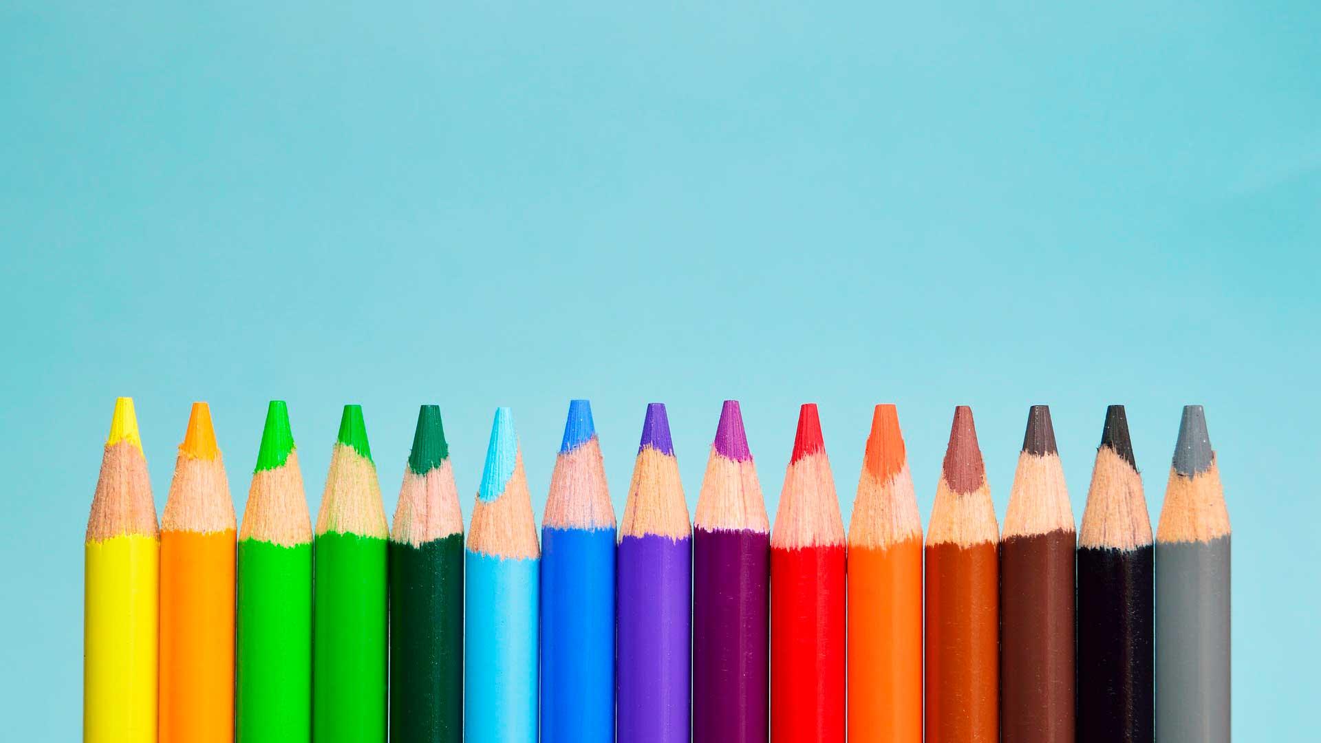 Lápis coloridos alinhados de pé