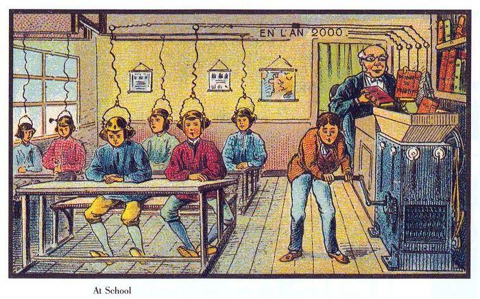 Gravura francesa da escola do futuro com crianças usando capacetes que passam o conteúdo para suas cabeças.
