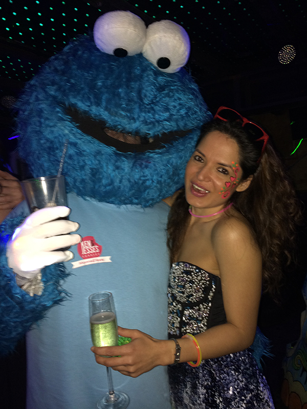 Cookie monster and lady