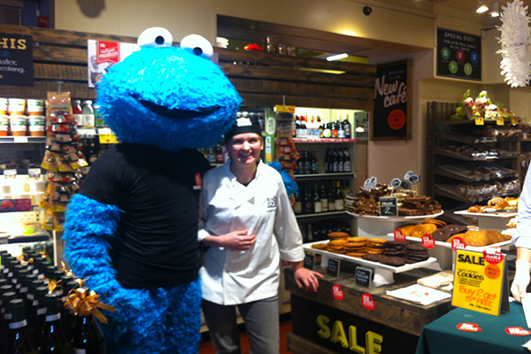 Cookie monster with baker at whole foods
