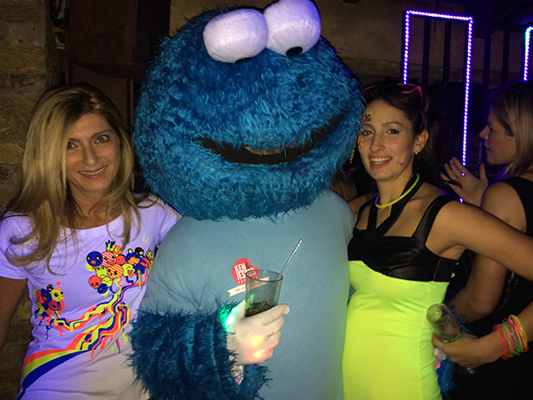 Cookie monster with two females