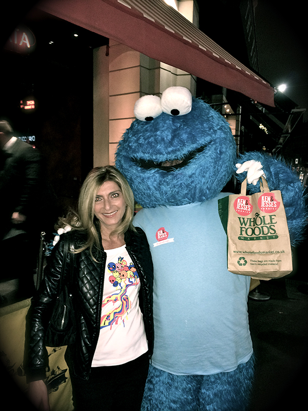 Lady and Cookie monster with whole foods bag