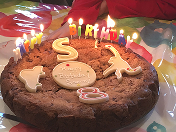 cookie cake with candles