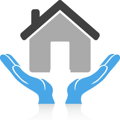 house icon being supported by hands