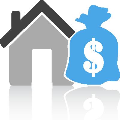 house icon alongside large money bag
