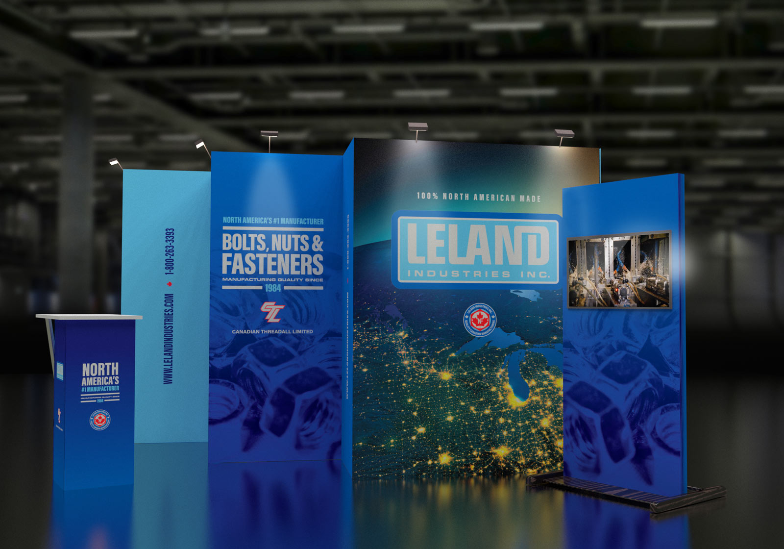 Leland trade show booth, Leland Industries