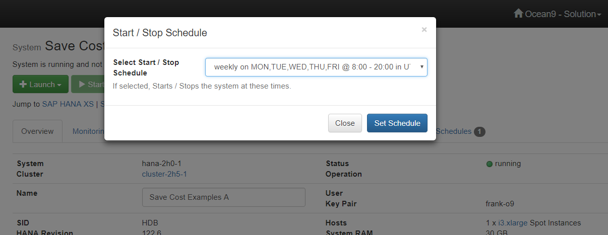 SAP HANA AWS Azure scheduled start and stop of workloads saves cost