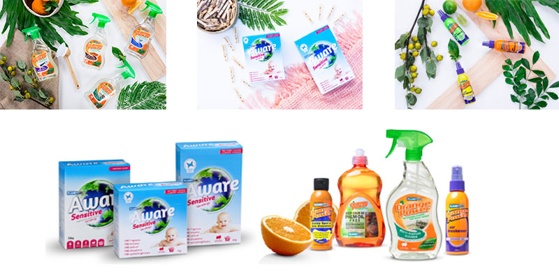 Aware Environmental's Orange Power and Aware cleaning products and air fresheners
