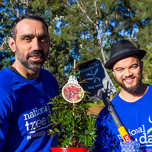 Two of our ambassadors, Adam Goodes and Guy Sebastian on National Tree Day.