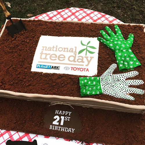 National Tree Day's birthday cake. Even the gloves were edible!