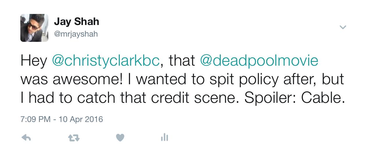 Tweet to Captain Clark