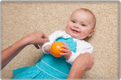 Photo of a baby in a Kindermusik class