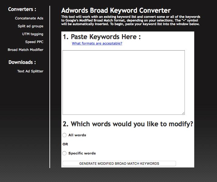 Adwords Broad Match Modifier Generator Mizlab