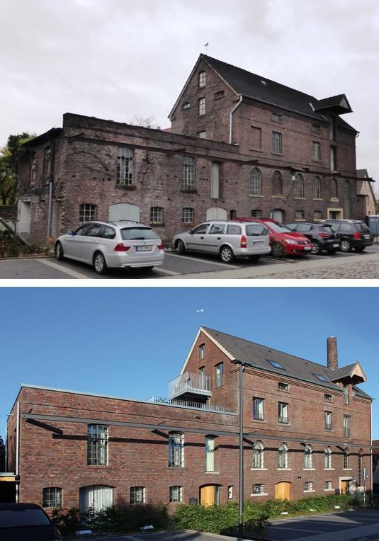 Die alte Brennerei Löhning vor und nach der Sanierungsmaßnahme.