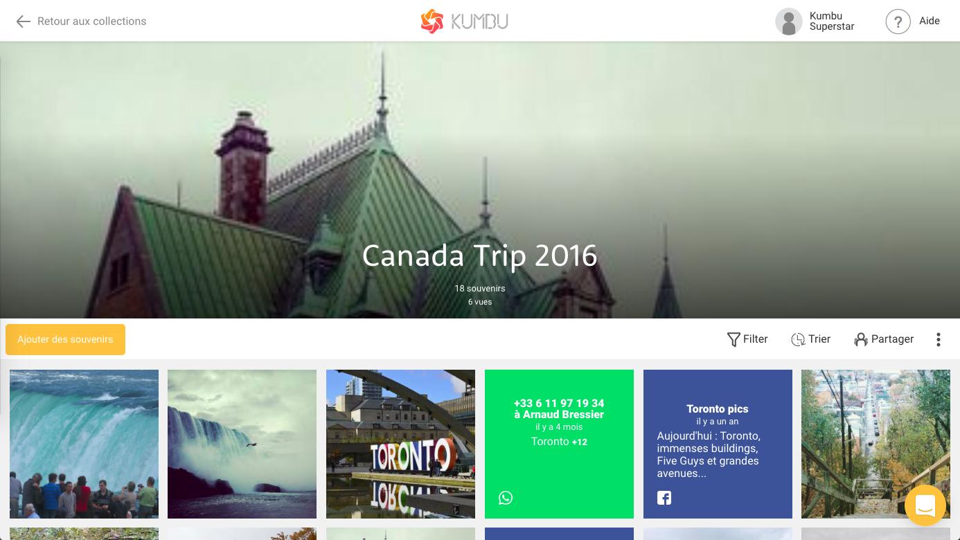 Téléchargez des photos et vidéos dans Kumbu