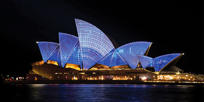 Sydney Opera House by night on New Year's eve