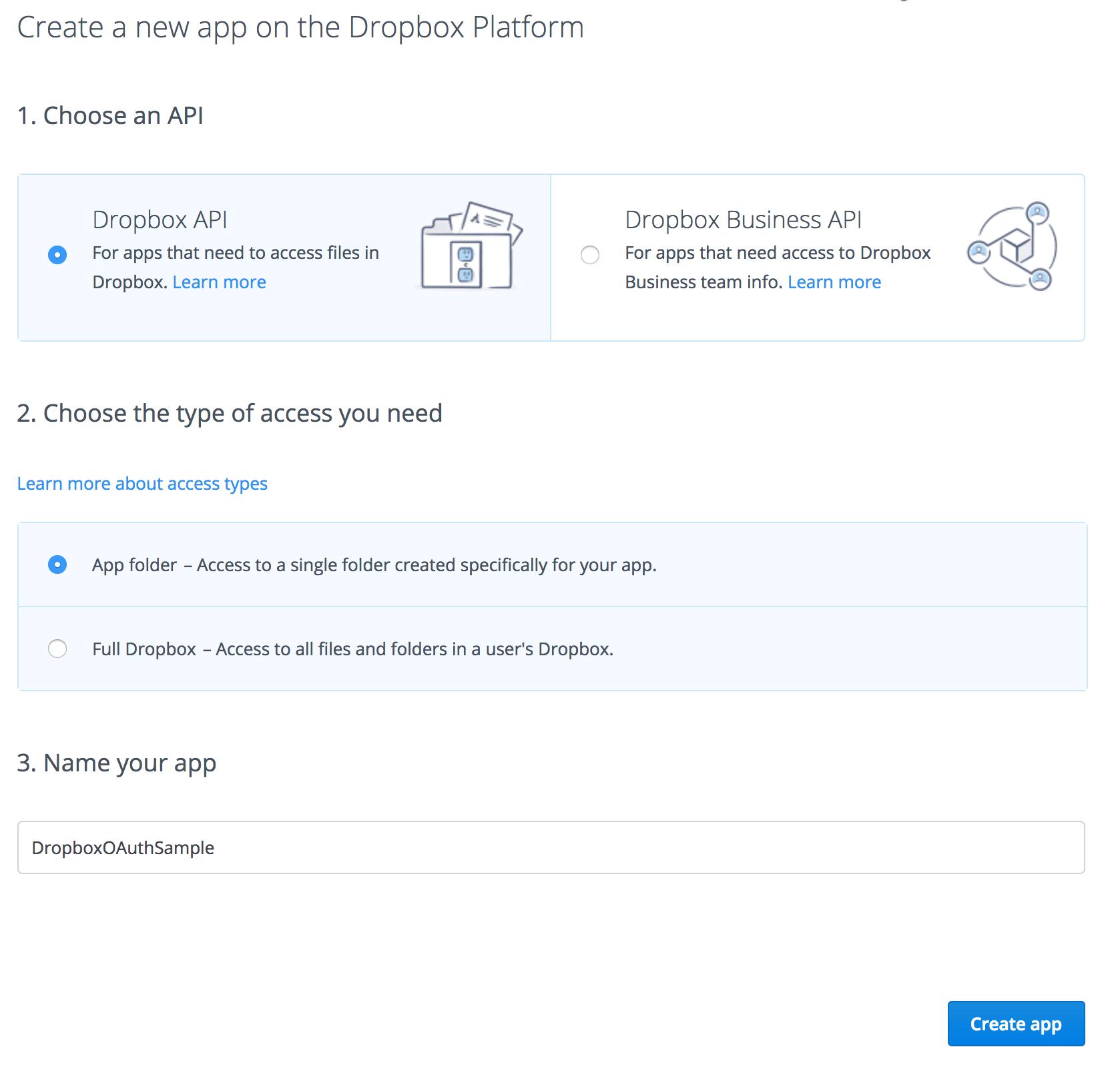 créer une application dropbox