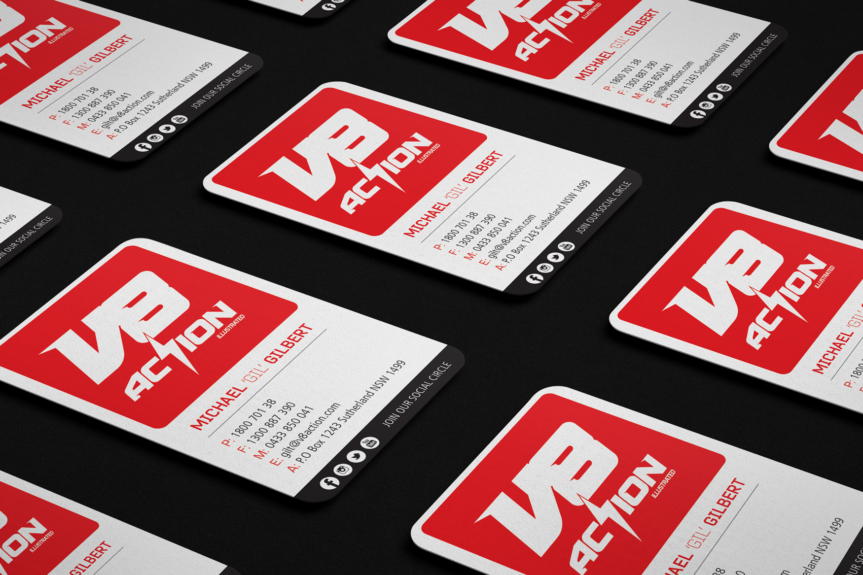 V8 Action business cards