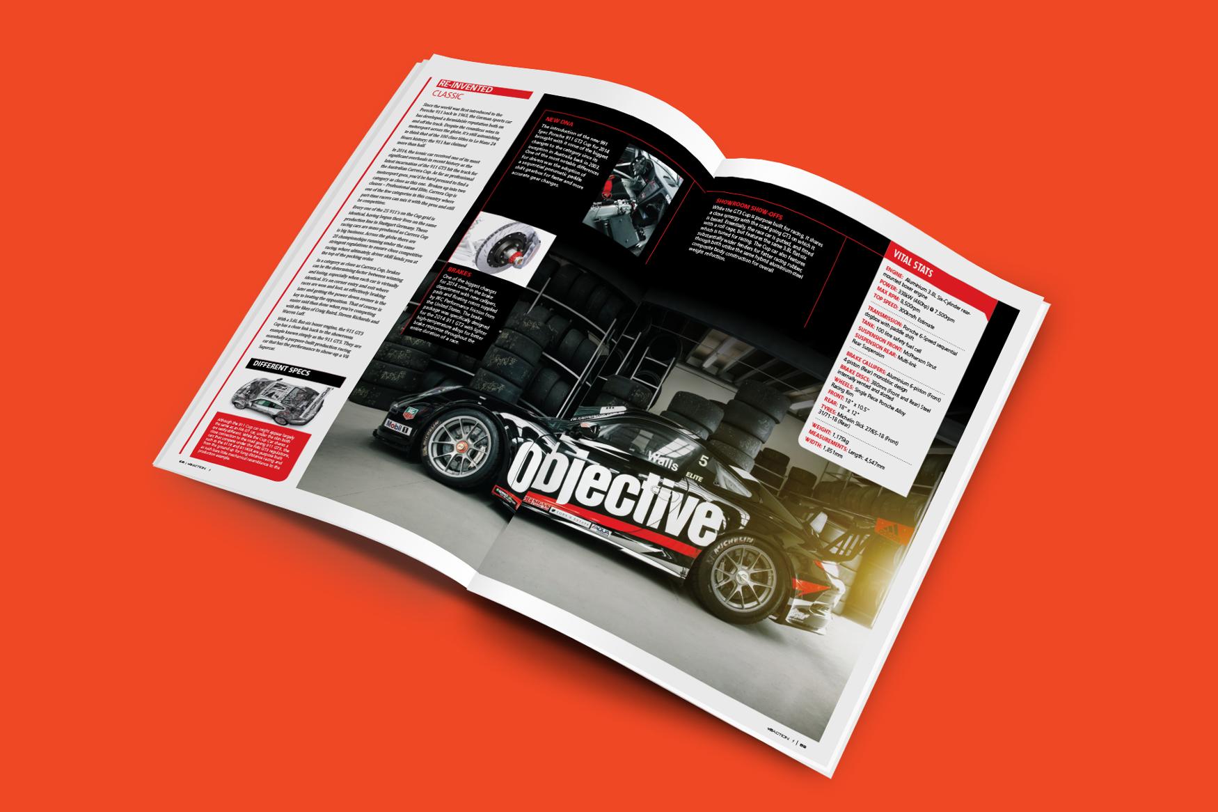 Porsche magazine spread