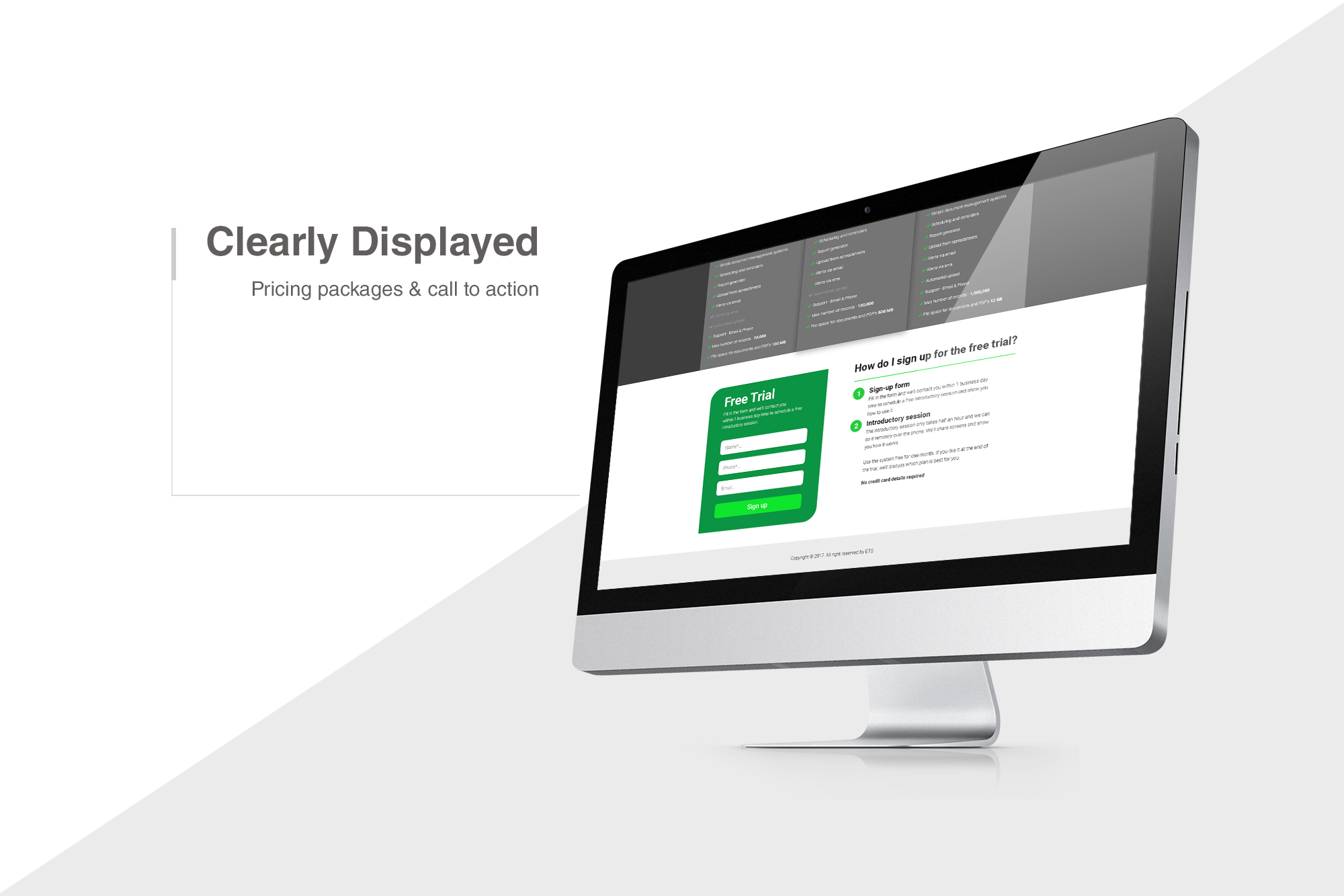 ETS landing page example 3