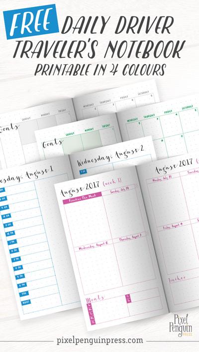 August Travelers Notebook Freebie