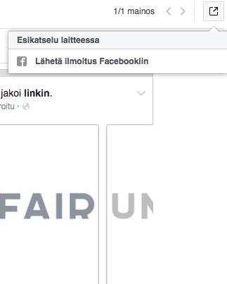 Voit lähettää esikatselun Facebook-mainosestasi omaan mobiililaitteeseesi