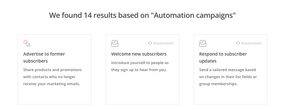 Automaatiokampanja vaihtoehtoja on 14 erilaista