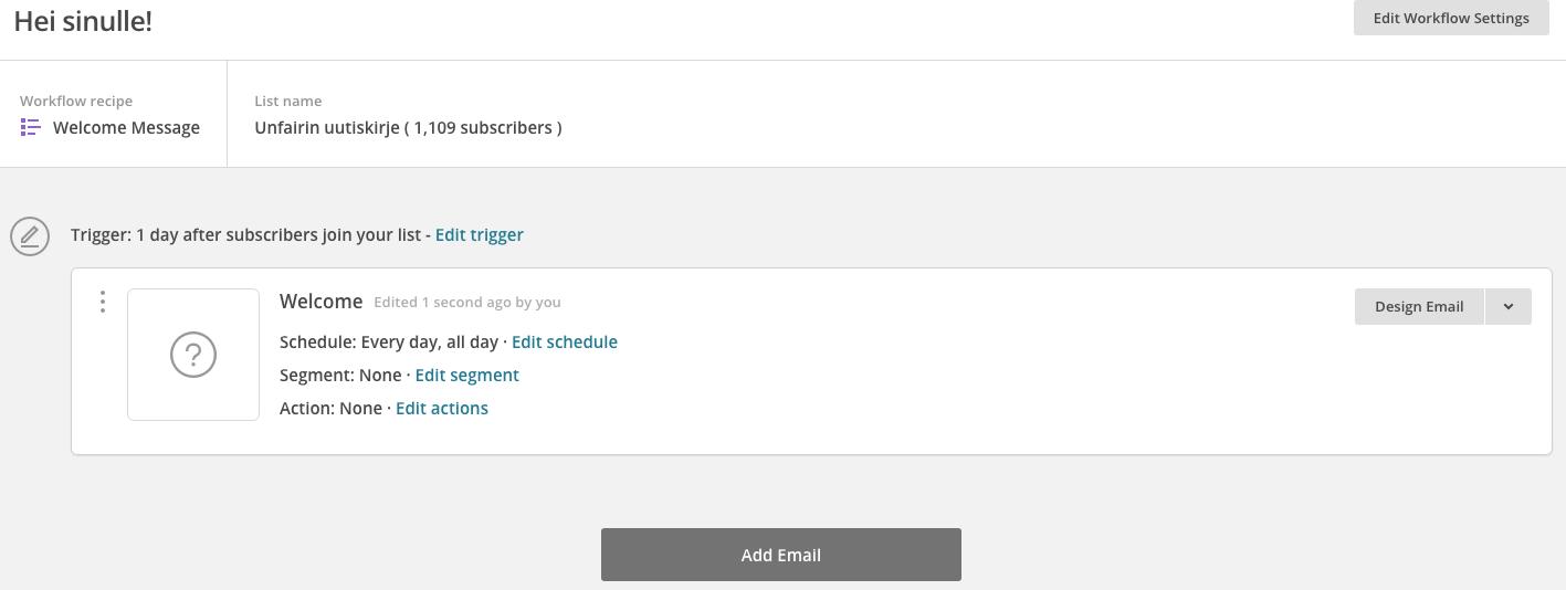 Design email -kohdasta pääsee muokkaaamaan lähtevän kirjeen normaalisti