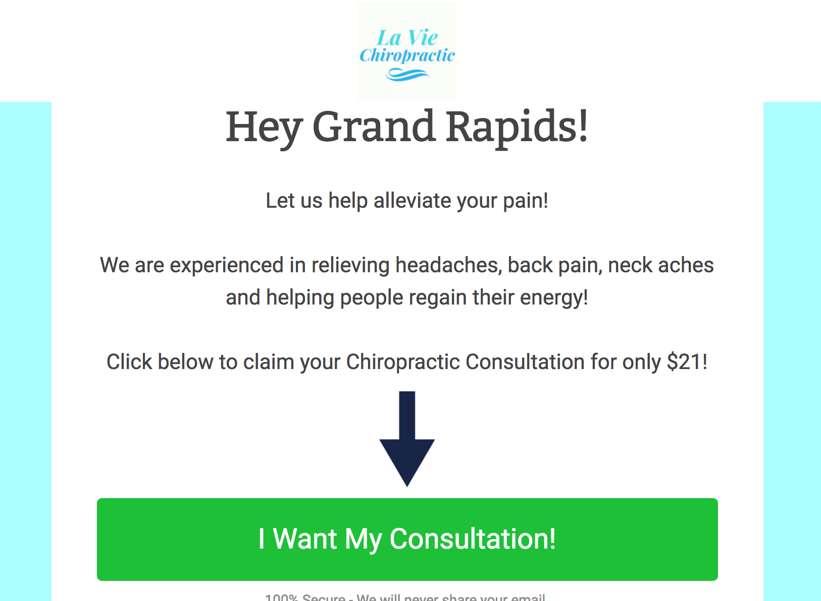Example of a high-performing landing page for a chiropractor
