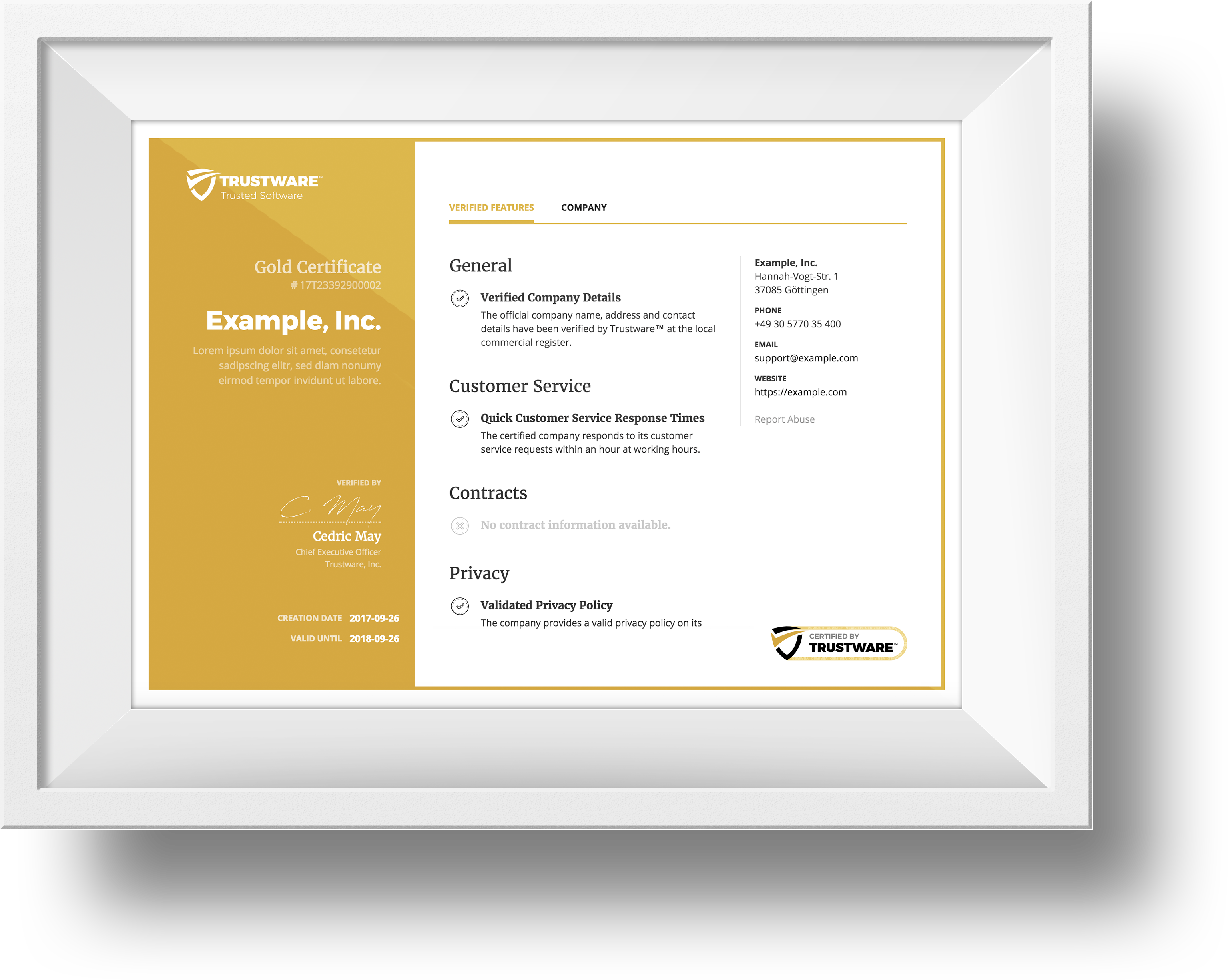 Trustware Software Certificate
