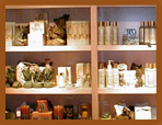 Photo of retail shelves in a spa/salon.