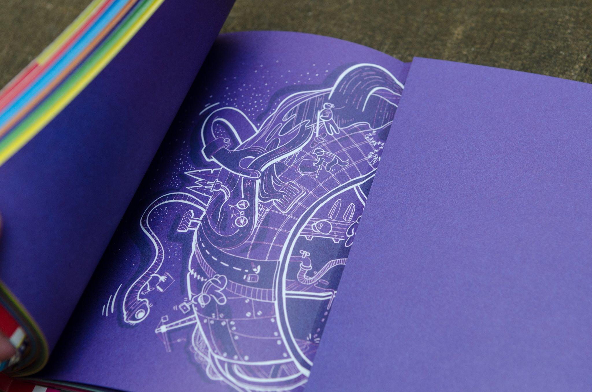 Funk Citizens Constitution for school children, illustration done by raluca mitarca on dark purple backgroun