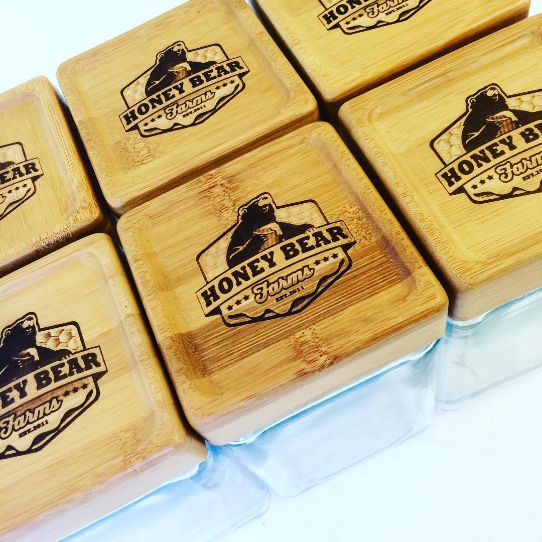 Laser etched wood honey jar lids