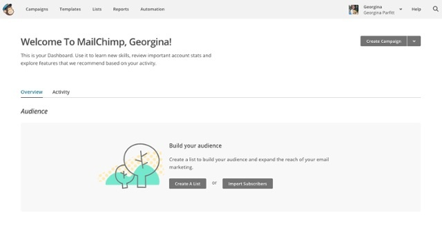 Mailchimp welcomes with a personal message and a simple two-choice signpost