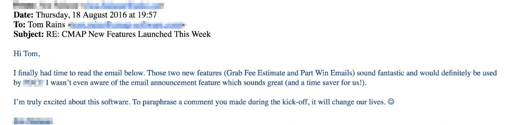 CMAP customer feedback email