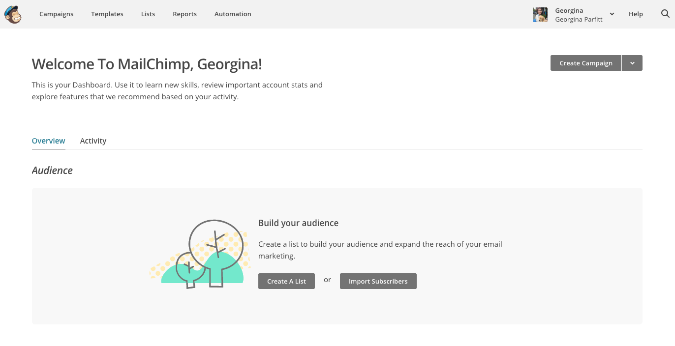 mailchimp welcome page onboarding