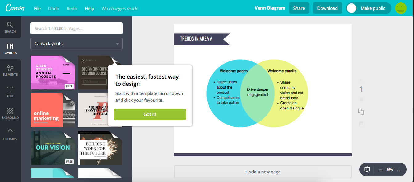 Canva tooltip product tour Appcues