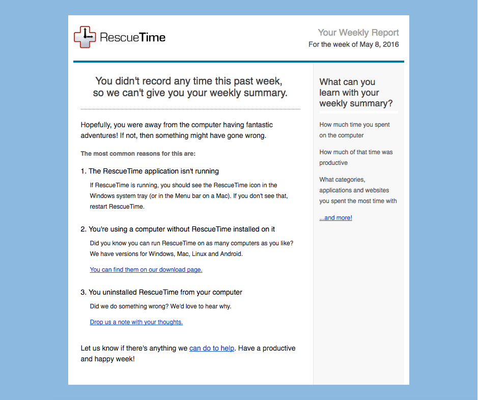 RescueTime late user retention get users back