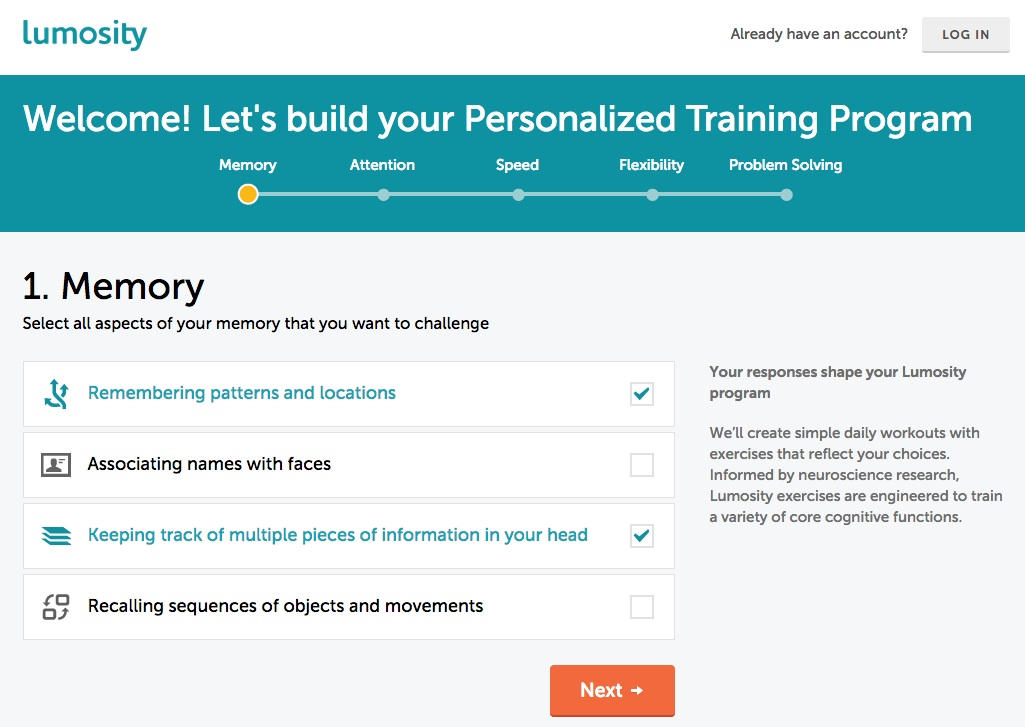Lumosity User Onboarding