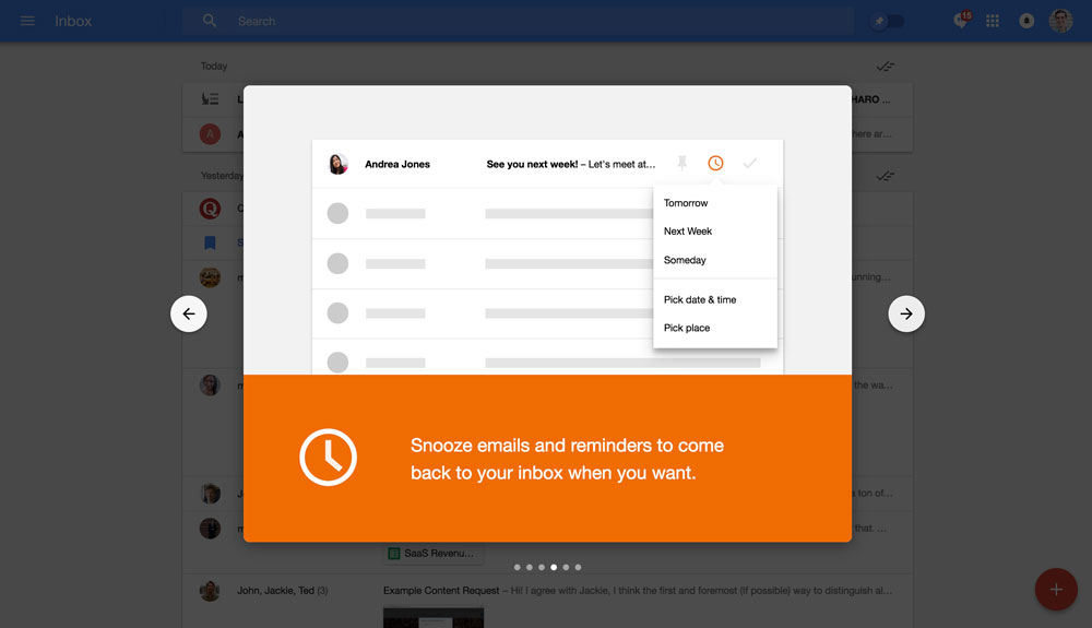 Google Inbox's walkthrough modals - step 4